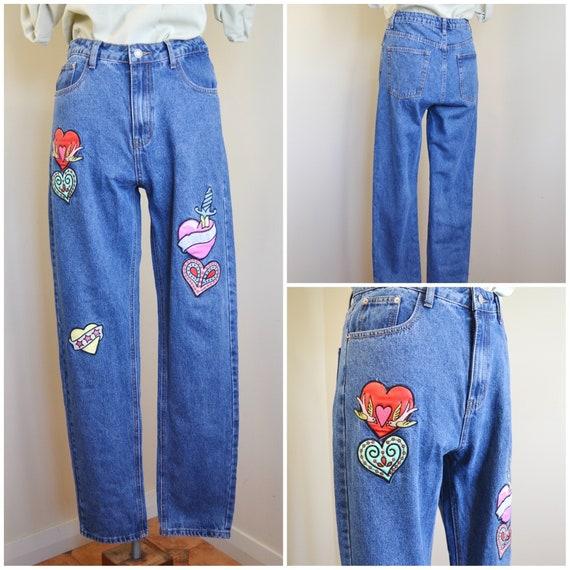 "90's Pop Art Heart Patches High Waist Jeans by Glamorous - Medium Wash Denim,  Like New Condition  - Unisex 32"" Waist - Womens Medium"