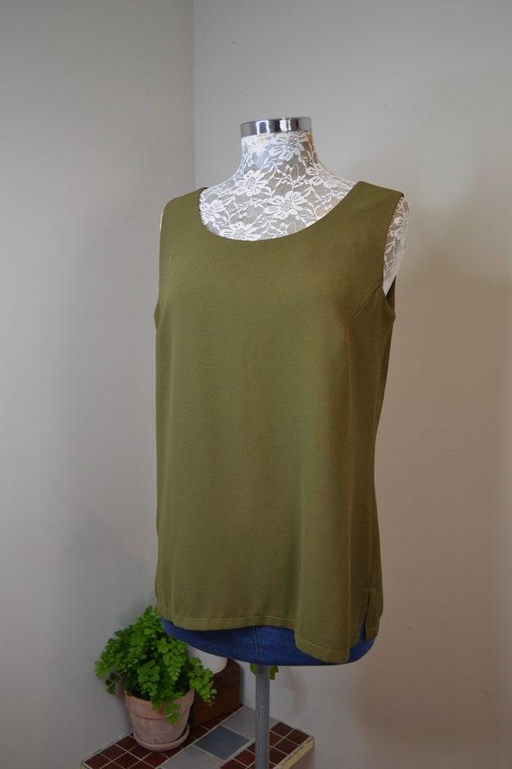 90's Dark Olive Sleeveless Long Tunic - Vintage Dressy Singlet by Vicky Man Australia - Aus 14 Medium