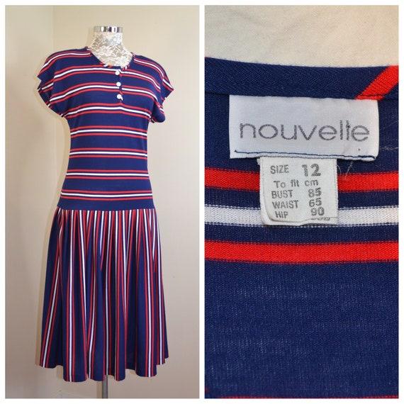 80's Preppy Navy Red White Stripe Sporty Drop Waist Midi - Soft Cotton Jersey Stretch by Nouvelle - Excellent Condition - Medium AUS 12