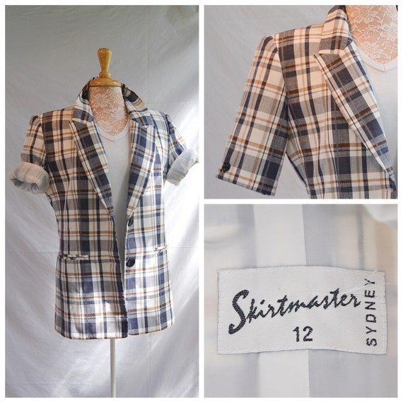 Nerdy 70's Short Sleeve Plaid Blazer - Funky Shirtmaster Sydney Australia - Navy & White Preppy Plaid - Medium - Aus 12 - US 10