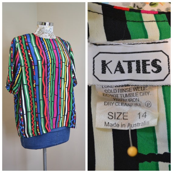80's Abstract Stripe in Primary Colours by Katies