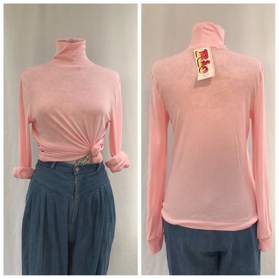 Bubble Gum Pink Deadstock Turtleneck 1980's Soft Stretch Cotton Blend - Pastel Easter Pink - New With Tags - Sz Large