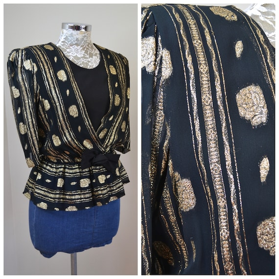 Fancy Lady 80's Metallic Gold & Black Lurex Blouse - Cinched Waist w Ruffle and Bow - Small - AUS 10