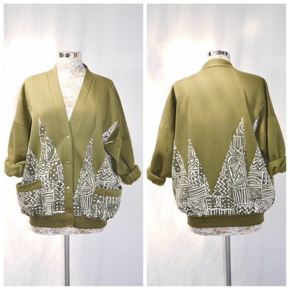Funky Granny Patchwork Sweatshirt - 80's Cardigan Hoodie Super Soft - Olive Army Green & White Abstract - Made in Australia - One Size Fits