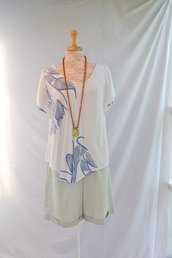 Beautiful Soft Rayon Summer Bali Top - Loose Flow - Sage, Dusty Blue on White - Sm - Med