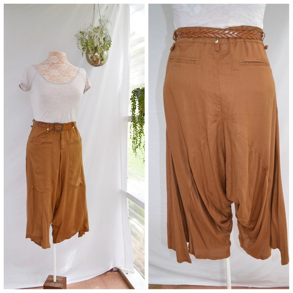 Drop Crotch Harem Pants in Rich Copper. - Cropped Short Culottes - Deep Front Pockets - Med - Large