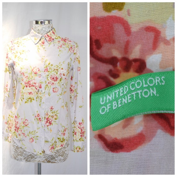 United Colors of Benetton 90's Floral Thin Cotton Oxford Preppy Button Up Boyfriend Shirt. Country Chic, XS