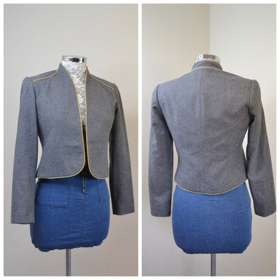 Vintage Cropped Wool Bolero Circa 1980's by Conschetta - Mottled Grey w/ Gold Trimmed Edges - Simple Sophisticated, Fully Lined - Small