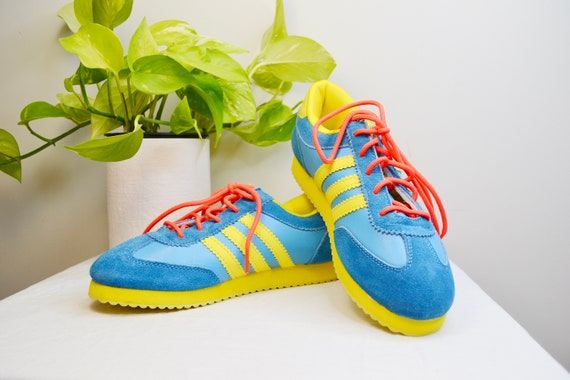 DEADSTOCK Vintage Day GLo Bright Turquoise + Lemon Yellow 70's Sneakers - Like New, Never Worn - Women's 6 - 6.5