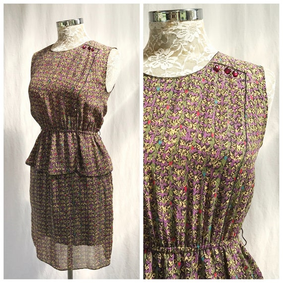 Dainty 80's Dress in Sheer Olive & Purple Mini Print - Sleeveless, Casual, Office, Church, Teacher - XS