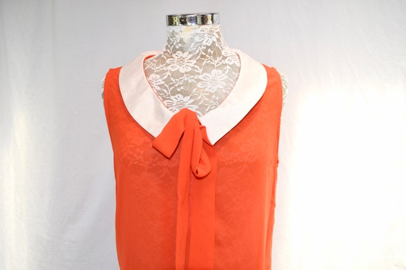 HOLD 4 Emerald* Vintage Vibrant Red Orange Silky Summer Blouse by Claude Alban Paris - Sleeveless, White Sailor Collar, Tie Front