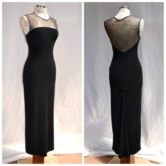 80's Floor Length Velvet Stretch Bodycon Formal - Plush Velvet Sexy Skinny Fancy - Sheer Mesh Top - US 4, AUS 8, XS, Small