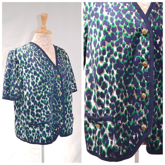 1960's Italian Mod - Leopard Print Short Sleeve Cardigan in Navy & Bright Green - 100% Cotton - Made in Italy - Large