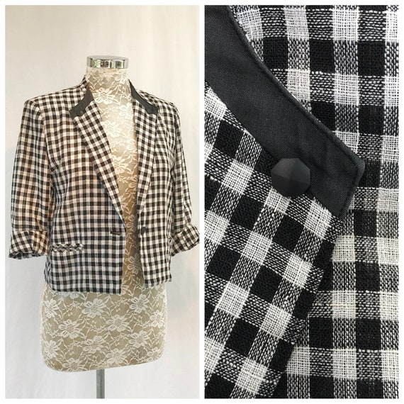 Vintage Preppy Black & White Check Mini Blazer - Open Weave, Front Pockets, Button Details - Small