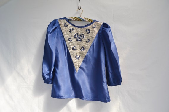Gorgeous Embellished Ethnic Beaded Top w/ Puff Sleeves - Cropped Short - XS