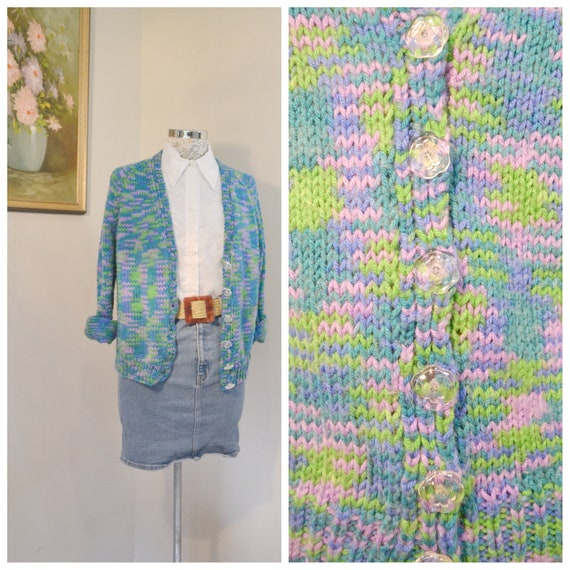 Vintage Hand Knit Granny Cardigan in Blue Green Purple Variegated Yarn - Super Soft MOD 60's - Cute Clear Vintage Buttons - Small - Medium
