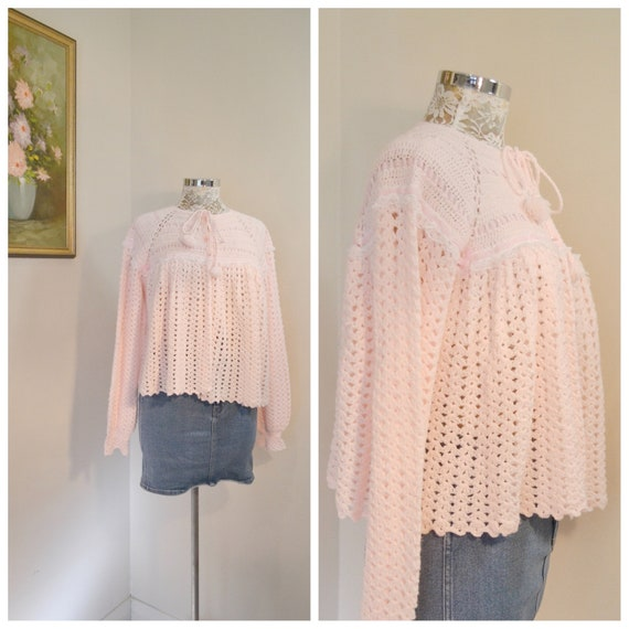Vintage Handmade Crochet Baby Pink Granny Cardigan -Super Soft Yarn w/ Ribbon & Lace - Tie Front Cardigan - One Size