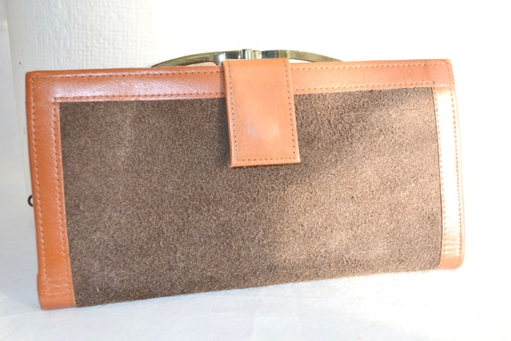 Vintage Leather & Suede Wallet - Burnt Orange Leather, Chocolate Brown Soft Suede - Beautifully Made - Like New