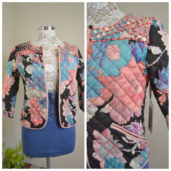 90's Orientique Quilted Bolero - Beaded Jacket - Rayon Cotton - Brand New - Made in India - Luxurious Soft Warm - XS AUS 8