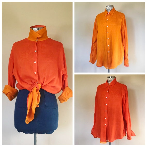 Totally Reversible Cotton Gauze Button-up Shirt - Vintage Thin Indian Cotton in Shades of Orange - Medium - One Size