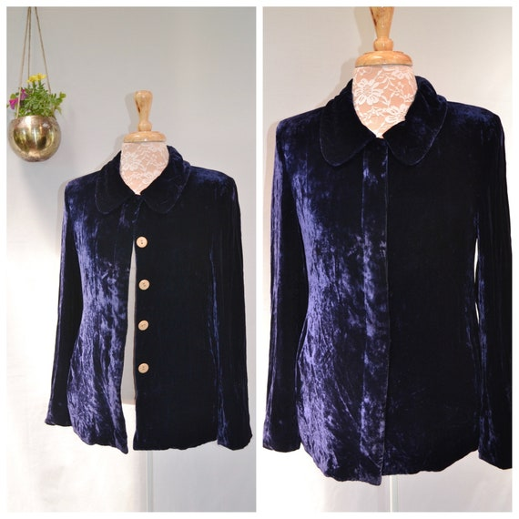60's Mod Royal Crushed Silk Velvet Smoking Jacket - Deep Cobalt Blue Velvet Glamour - Vintage Handmade - Contrast Pearlised Buttons - Small