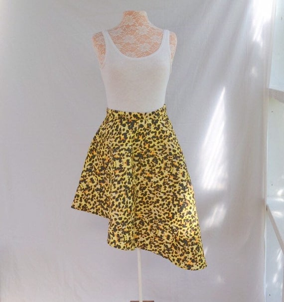 Leopard Print Hi Low Midi Cocktail Party Skirt - Yellow Asymmetrical Bold Animal Print sz 12