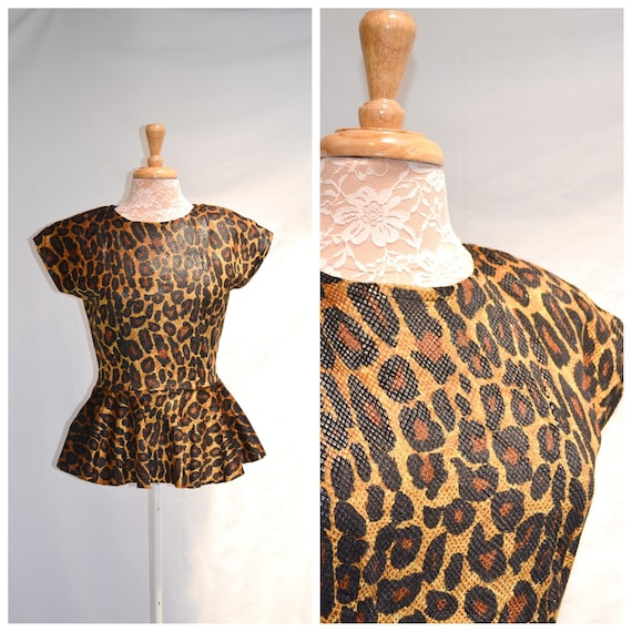 Vintage Vixen Leopard Print Shimmer Babydoll 1980's Sex Kitten - Rock Star Hollywood - Halloween - SMALL
