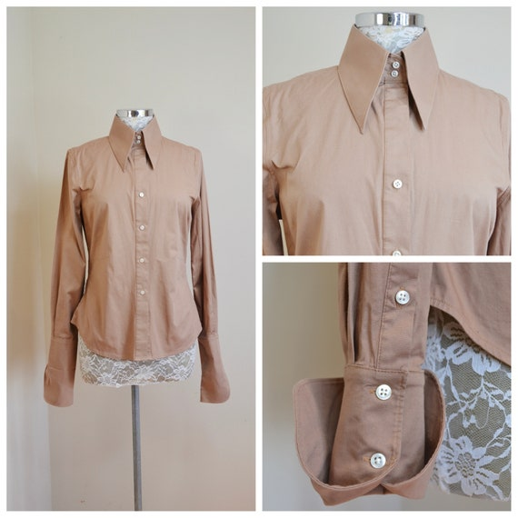 70's Style Button-up Shirt In Light Brown Stretch Cotton - Fitted Tuxedo Cut w/ Butterfly Collar - Small