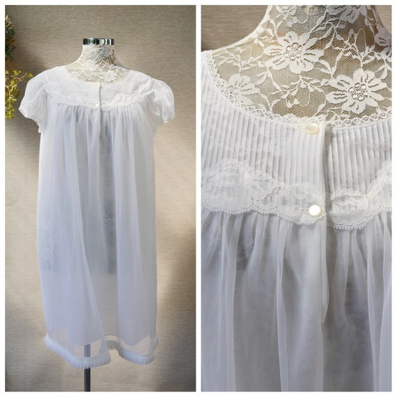1960's Mod Babydoll Granny Nightie in Lemon Yellow or Angel White. Vintage Summer Loose Nightgown in Chiffon & Lace - Small Medium
