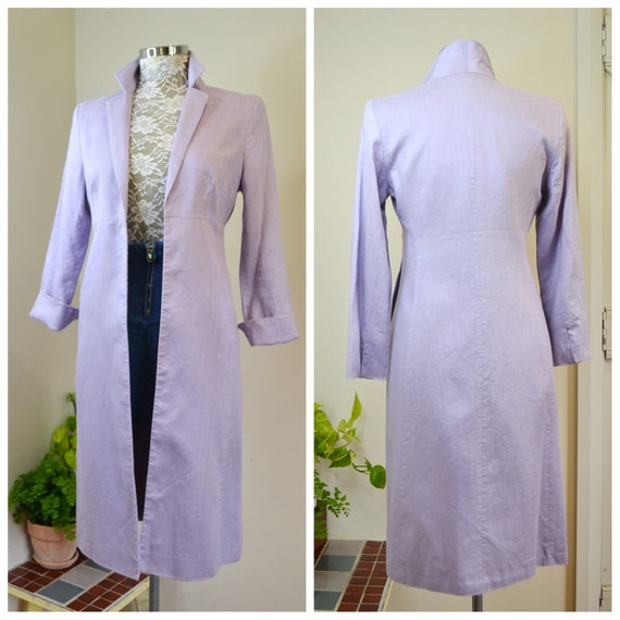 Lavender Linen & Lurex Long Blazer, Sleek Simple 90's Vintage - Long Skinny Minimal in Violet Metallic Nubby Linen - Small AUS 10