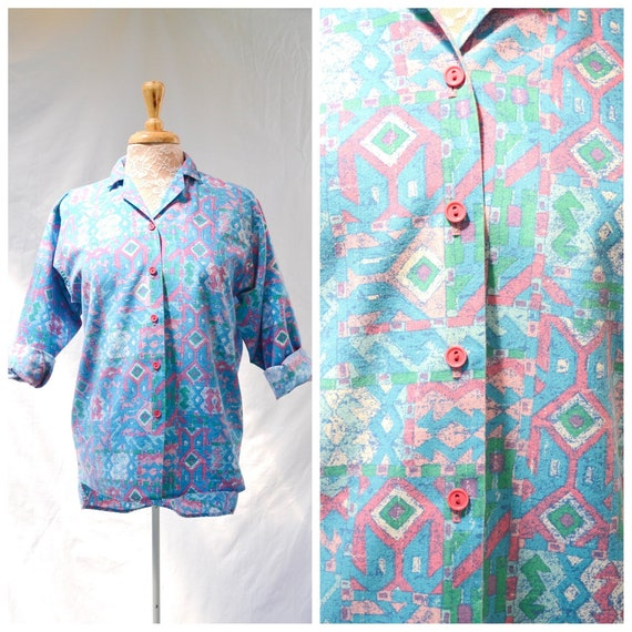 New Wave 80's Skater Beachy - American Southwest Beach Skater Cotton Button-up Shirt. Unisex - MED