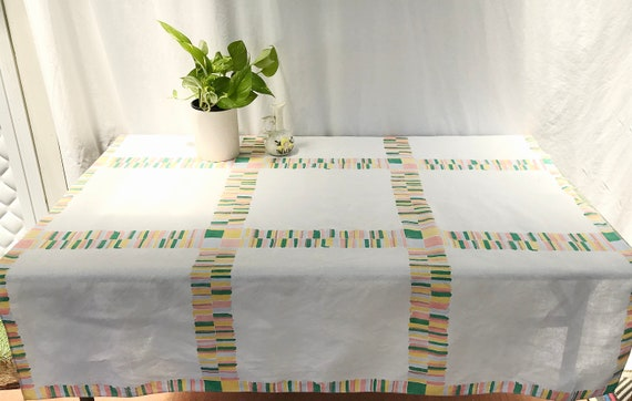 "Amazing Vintage Linen Table Cloth - Crisp White Linen, Teal, Salmon, Lemon Yellow Printed Stripes - 49"" Square 124 cm"