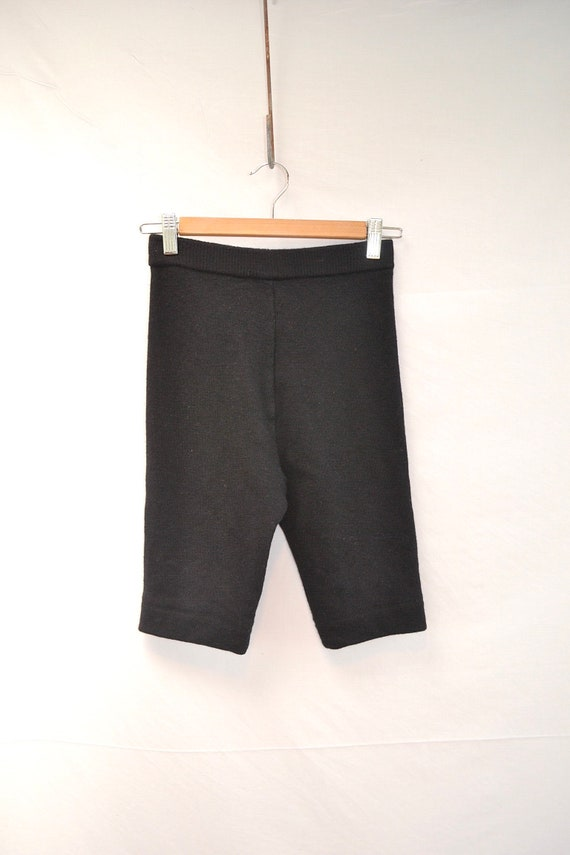 """SUPER High Waisted Black Wool Knit Knickers - 80's Tight Shorts - XS 24"""" Waist"""