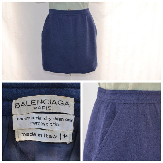 Vintage Balenciaga Dusty Blue Angora Mohair Wool Skirt  - Hemmed Short. Front Pockets - Designer Luxurious Winter Wear - Large - UK 14