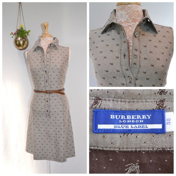Burberry Blue Label* Japanese Designer Dress. Preppy Sporty Fitted Brown Iconic Burberry Logo - X Small