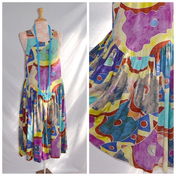 Vintage Primitive Abstract Drop Waist Tribal Bali Dress 1980's Rayon. Loose Draping, Soft and Elegant. Sz Small