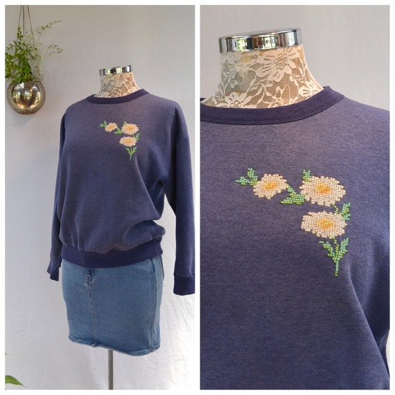 Precious Granny Embroidered Sweatshirt - Vintage Navy Blue Heather Super Soft Cuddly - Made in Australia - Small