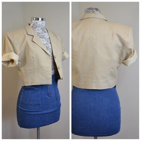Amazing Vintage Cropped Short Sleeve Blazer in Natural Cotton Linen Blend by Masuka - Designer Quality, Fully Lined - Small AUS 10 - US 8