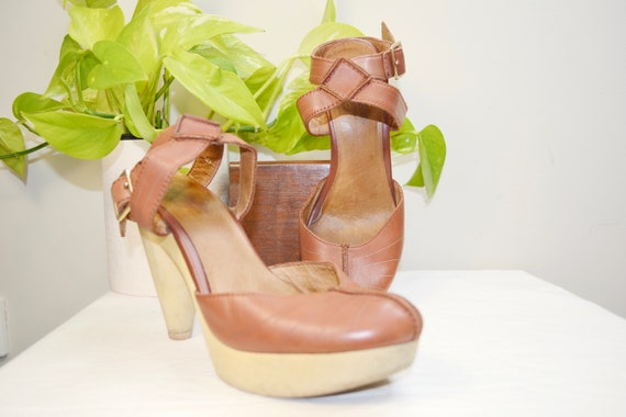 Russet Brown Leather Platform Heels w/ Ankle Straps by Seychelles Los Angeles - Vintage Sexy Strappy Hippie Boho Platforms - size 6