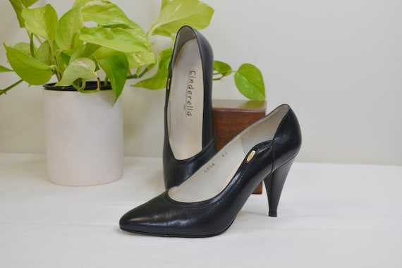 Stark Black All Leather & Suede Pumps - Sex Kitten Bombshell Pinup Glam - Vintage Hollywood Funeral - Best Fit AUS 6.5