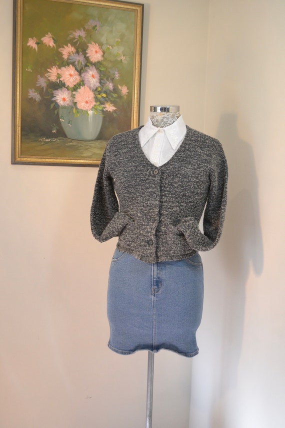 90's Wool Cardigan by Esprit - Charcoal Grey Soft Nubby Wool - Crop Short,  Front Pockets - XS - Small