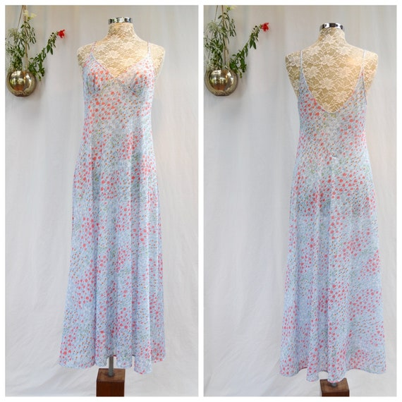 Vintage Robins Egg Blue Sheer Slip Spaghetti Straps -Summer Soft & Loose Maxi - Ankle Duster - MED