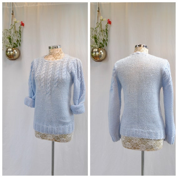 Vintage Hand Knit Soft Cuddly Baby Blue Sweater - Cable-knit Pullover Jumper - Small