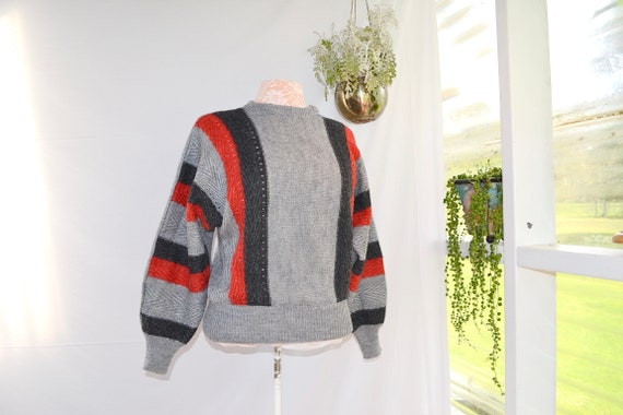 Hipster Grey Granny 80's Knitwear.  Red Black Grey Batwing Sleeve Jumper - Sm - Med