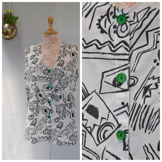 80's Sporty Sleeveless Baggy A-Line Summer Tunic - Abstract Black & White Cotton w/ Contrast Green Buttons - Med Large