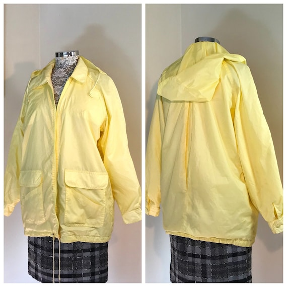 1980s Lemon Yellow Wind Breaker - Warm Flannel Lined - Big Front Pockets - Unisex Wind Cheater - Large AUS 16 - 18