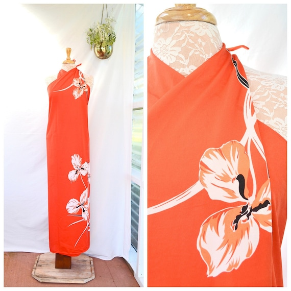 1970's Wraparound Island Style - Day Glo Brite Orange Red White Iris Flower - Backless Halter Ties -  One Size Fits All