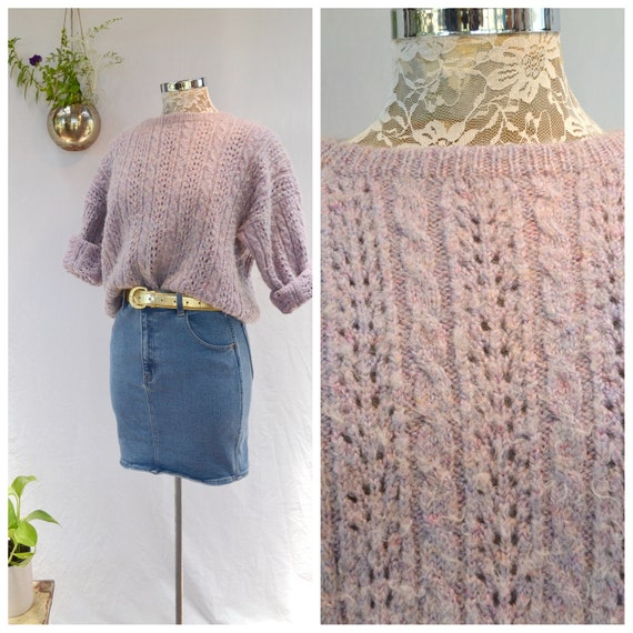 Vintage Hand Knit Soft Cuddly Lavender Sweater - Cable-knit Pullover Jumper - Small