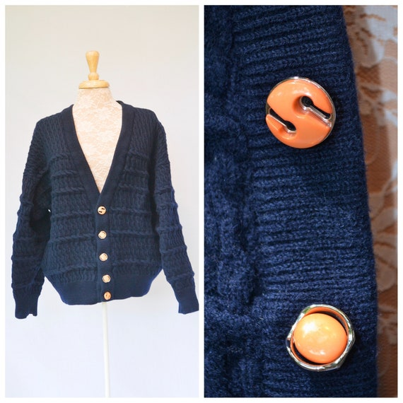 Vintage Navy Cable Knit Heavy Wooly Grandpa Baggy Cardigan w/ Contrast Vintage Orange Buttons -* Unisex Large - One Size