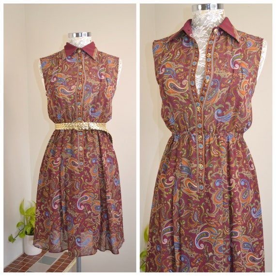 Paisley Chiffon Burgundy Fall Autumn Colours Any Occassion Day Dress - Feminine Sweet Vintage Dress - XSmall - AUS 8